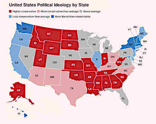 Map of U.S. political ideology by state in 2020